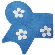 Jogo Para Banheiro Cotton Com Aplique 3 Peças Azul - Tapetes Miriam