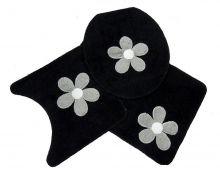Jogo Para Banheiro Cotton Com Aplique 3 Peças Preto/Flor - Tapetes Miriam