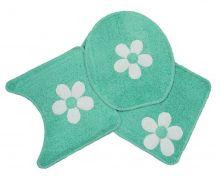 Jogo Para Banheiro Cotton Com Aplique 3 Peças Verde Água/Flor - Tapetes Miriam