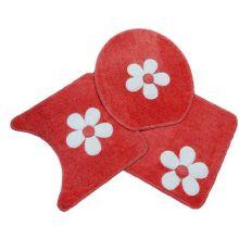 Jogo Para Banheiro Cotton Com Aplique 3 Peças vermelho - Tapetes Miriam