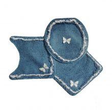 Jogo Para Banheiro Delicato 3 Peças Azul Jeans - Tapetes Miriam