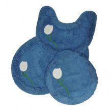 Jogo Tapetes para Banheiro 3 Peças Soft Bordado Azul/Tulipas - Tapetes Miria