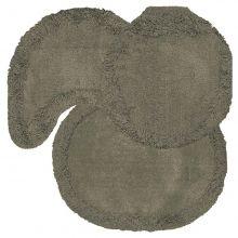 Jogo tapetes para Banheiro 3 Peças Soft Liso Alumínio - Tapetes Miriam