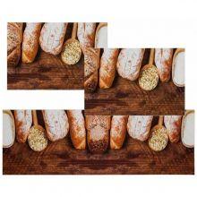 Jogo Tapetes para Cozinha 3 Peças Mangiare Pães - Jolitex
