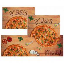 Jogo Tapetes para Cozinha 3 Peças Mangiare PIzza - Jolitex