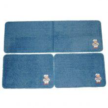 Kit de Tapetes para Cozinha 3 Peças Cotton Azul / Cozinheiro- Tapetes Miriam
