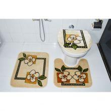 Kit Tapete para Banheiro 3 Peças Bege Claro Royal Luxury - Rayaza