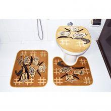 Kit Tapete para Banheiro 3 Peças Bege Escuro Royal Luxury - Rayaza
