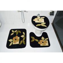 Kit Tapete para Banheiro 3 Peças Preto Royal Luxury - Rayaza