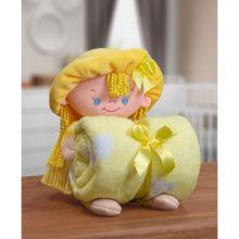 Manta Baby com Boneca de Pelúcia Puppy Amarela - Bouton