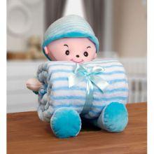 Manta Baby com Boneco de Pelúcia Boy Azul - Bouton