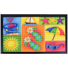 Tapete Bem vindo Fenice Colorful  70cm x 40cm Praia - Bella Casa