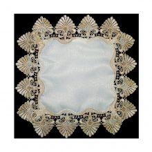 Toalha Bandeja Quadrada Barrado Guipir Branco/Bege - Wan Xin