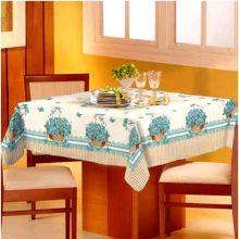 Toalha de mesa Classic 1,40m x 1,40m Cesta Flores Azul - Raner
