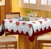 Toalha de mesa Classic 1,40m x 1,40m Rosas Linho - Raner