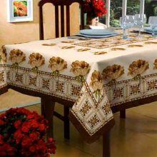 Toalha de mesa Classic 1,40m x 2,10m Floral Bege/Marrom - Raner