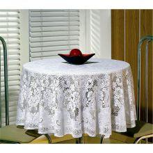 Toalha de Mesa em Renda Jacquard Branca Redonda 1,80m  - Beija Flor