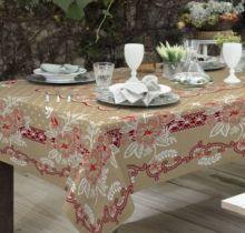 Toalha de Mesa Gourmet Rústica Flores 1,40m x 1,40m - Raner