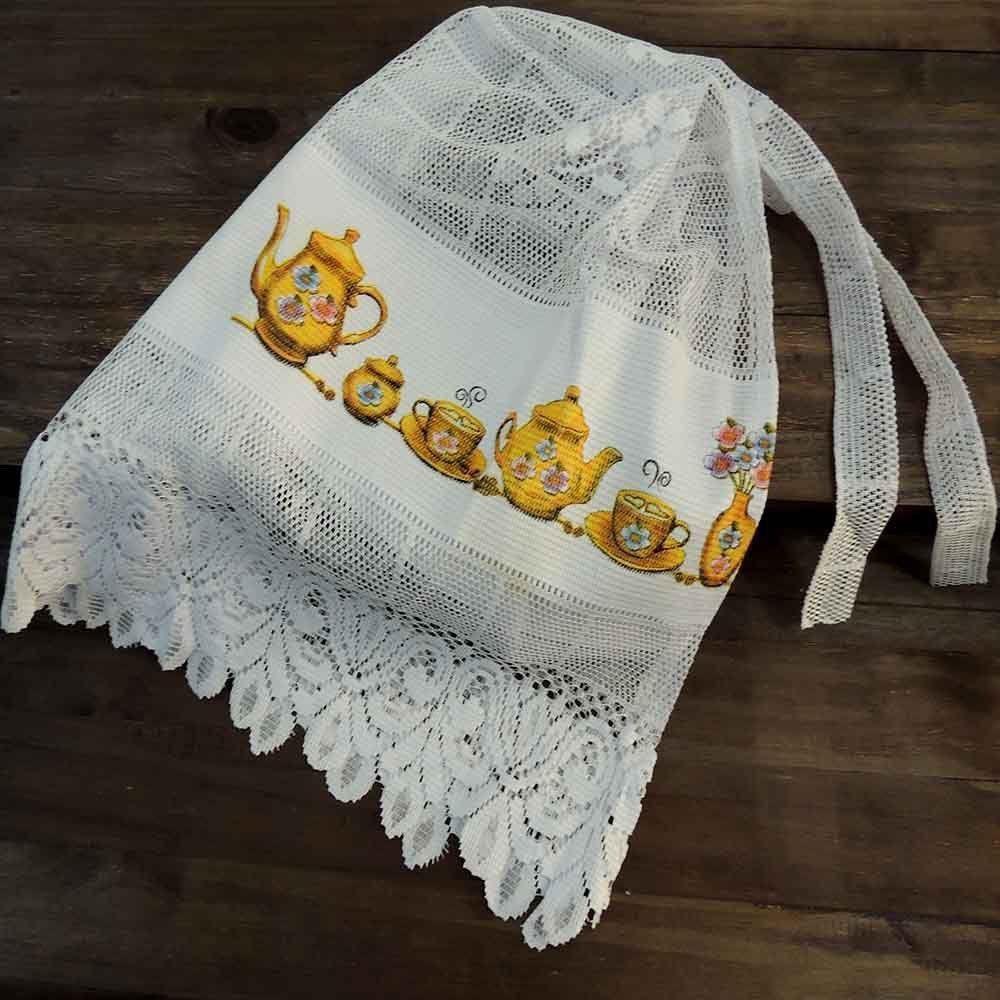 Capa para Botijão de Gás em Renda Branca Estampada - Beija Flor