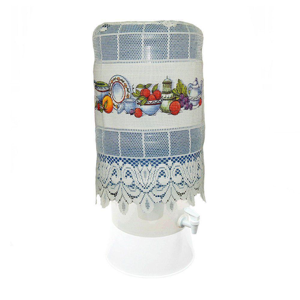 Capa para Galão de Água em Renda Branca Estampada - Beija Flor