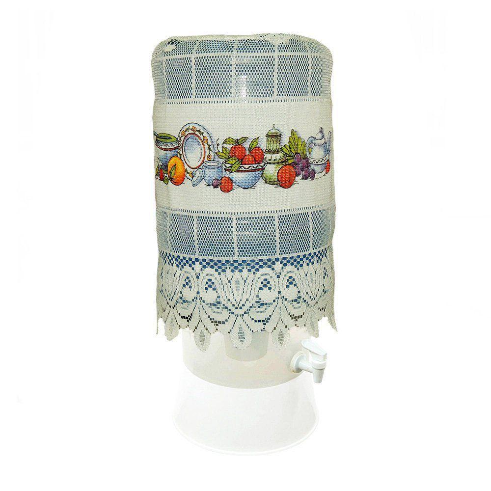 Capa para Galão de Água em Renda Creme Estampada - Beija Flor