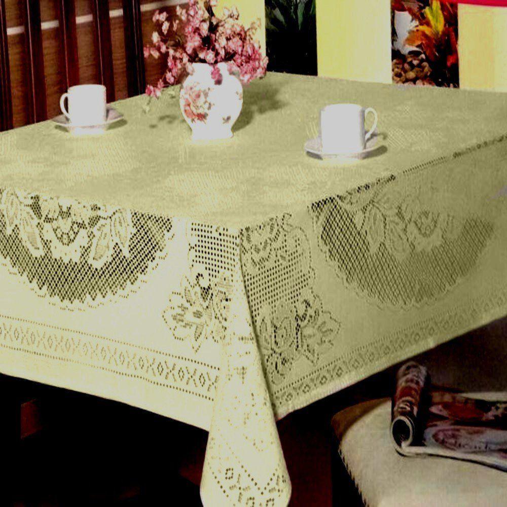 Toalha de Mesa em Renda Jacquard Creme Quadrada 1,50m x 1,50m - Beija Flor