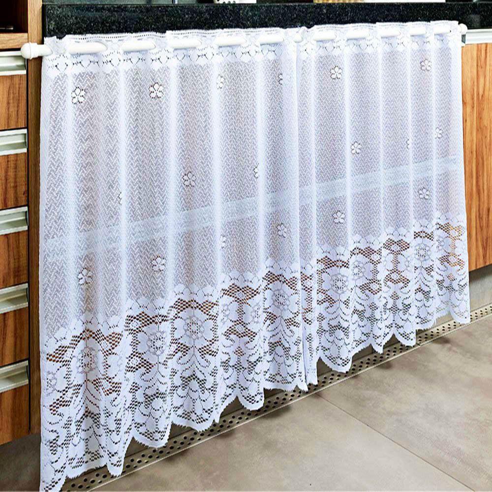 Cortina de Renda Multiuso Stilo Branca Jacquard 80cm x 1,60m  - Beija Flor