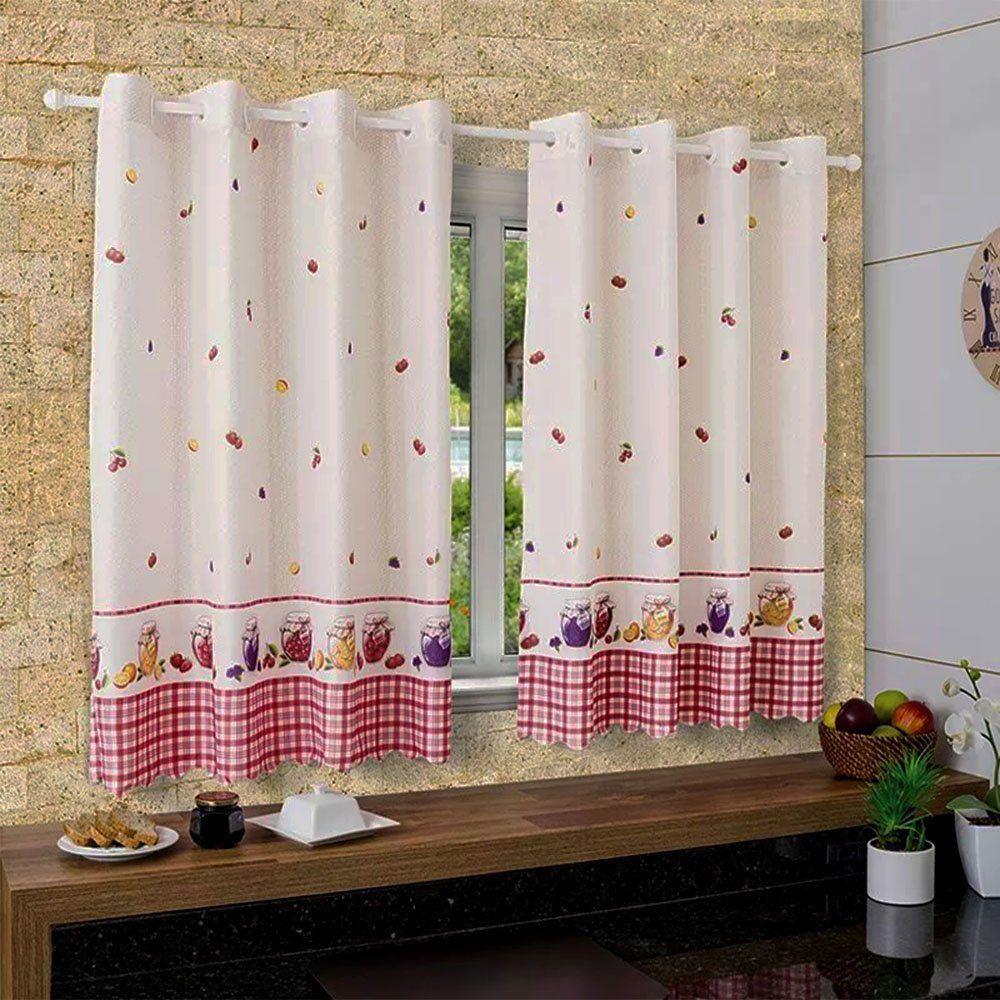 Cortina Para Cozinha 2,00m X 1,40cm  Allegra Geleia de Frutas - Bella Janela