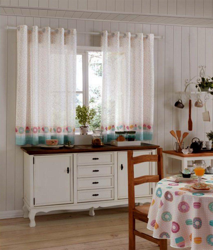 Cortina Para Cozinha Estampada 2,00m x 1,50m Isolde 01- Dohler