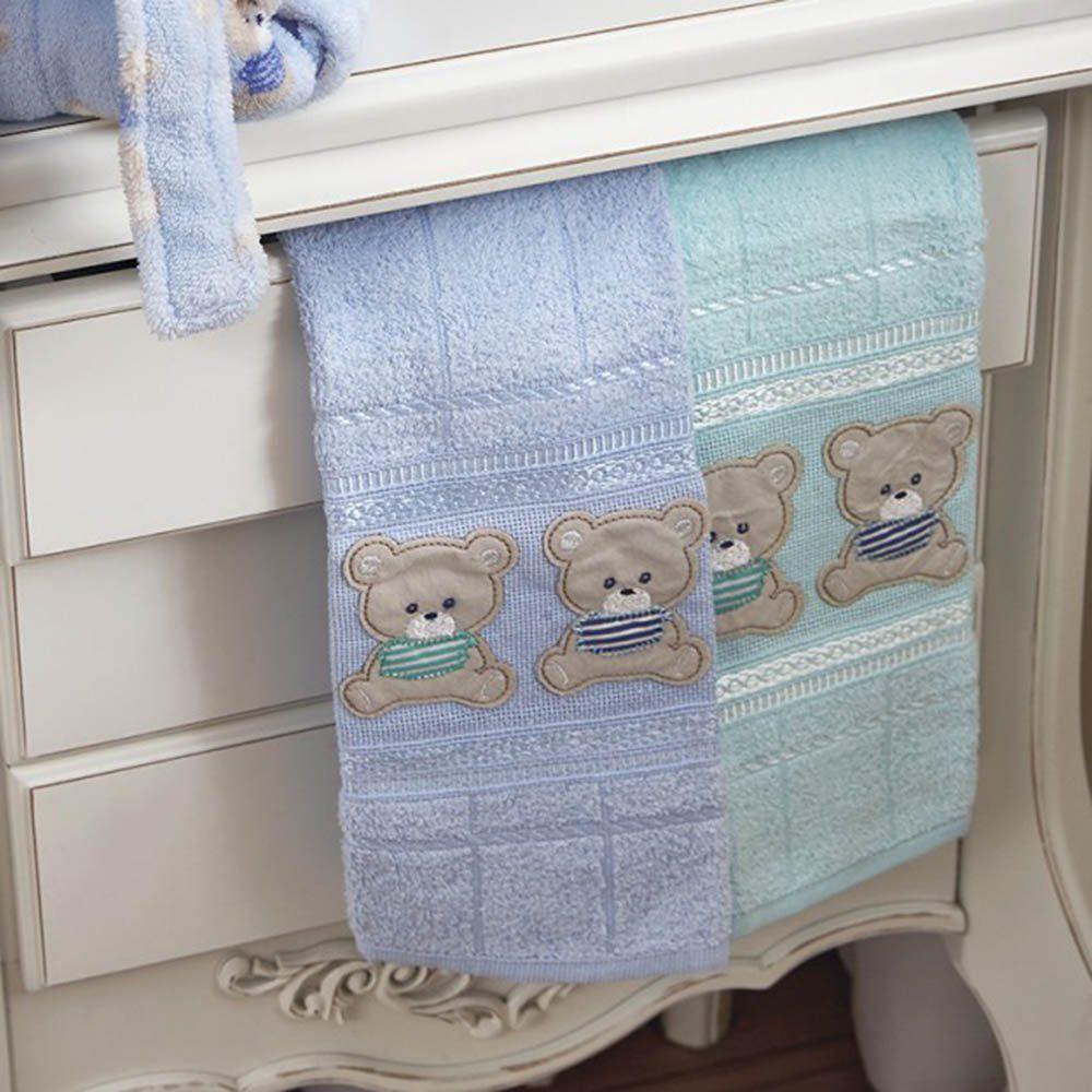 Toalhas Social Baby 02 Peças 30 cm x 50 cm Teddy - Atlantica