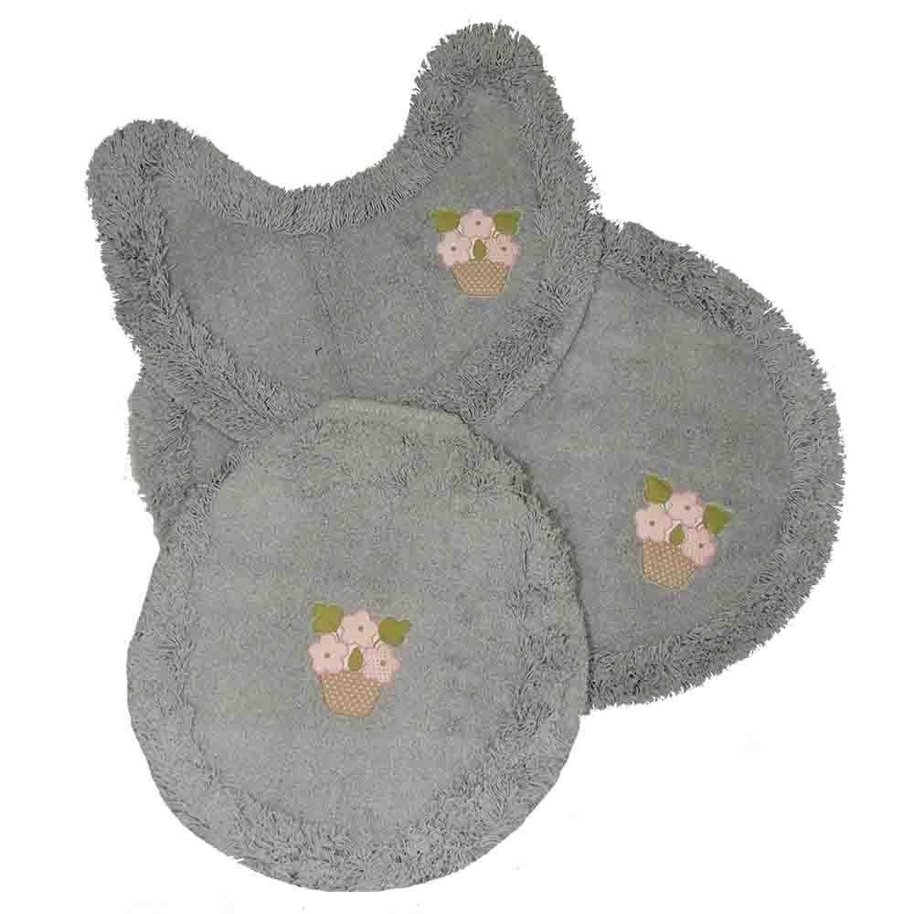 Jogo tapetes para Banheiro 3 Peças Soft Bordado Cinza/Vasinho - Tapetes Miriam