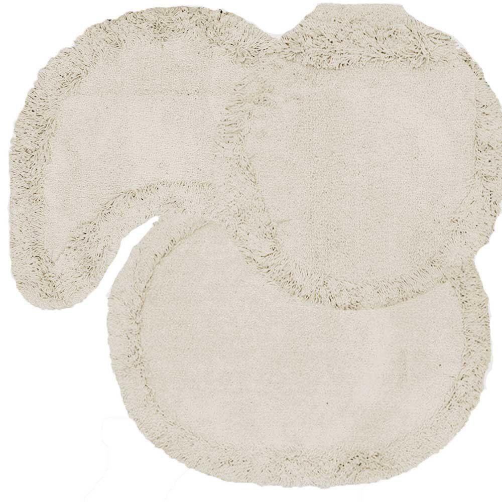 Jogo tapetes para Banheiro 3 Peças Soft Liso Crú - Tapetes Miriam