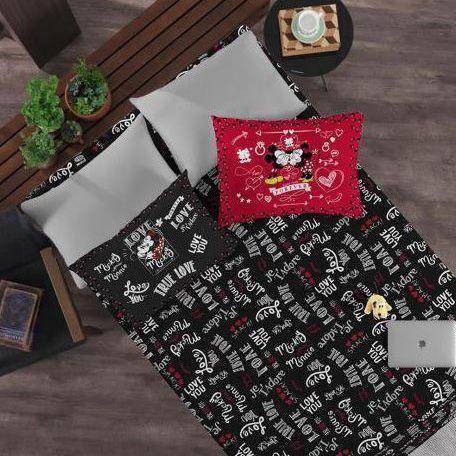 0f2f9b6932 Jogo de Cama casal 3 peças Mickey e Minnie - Portallar