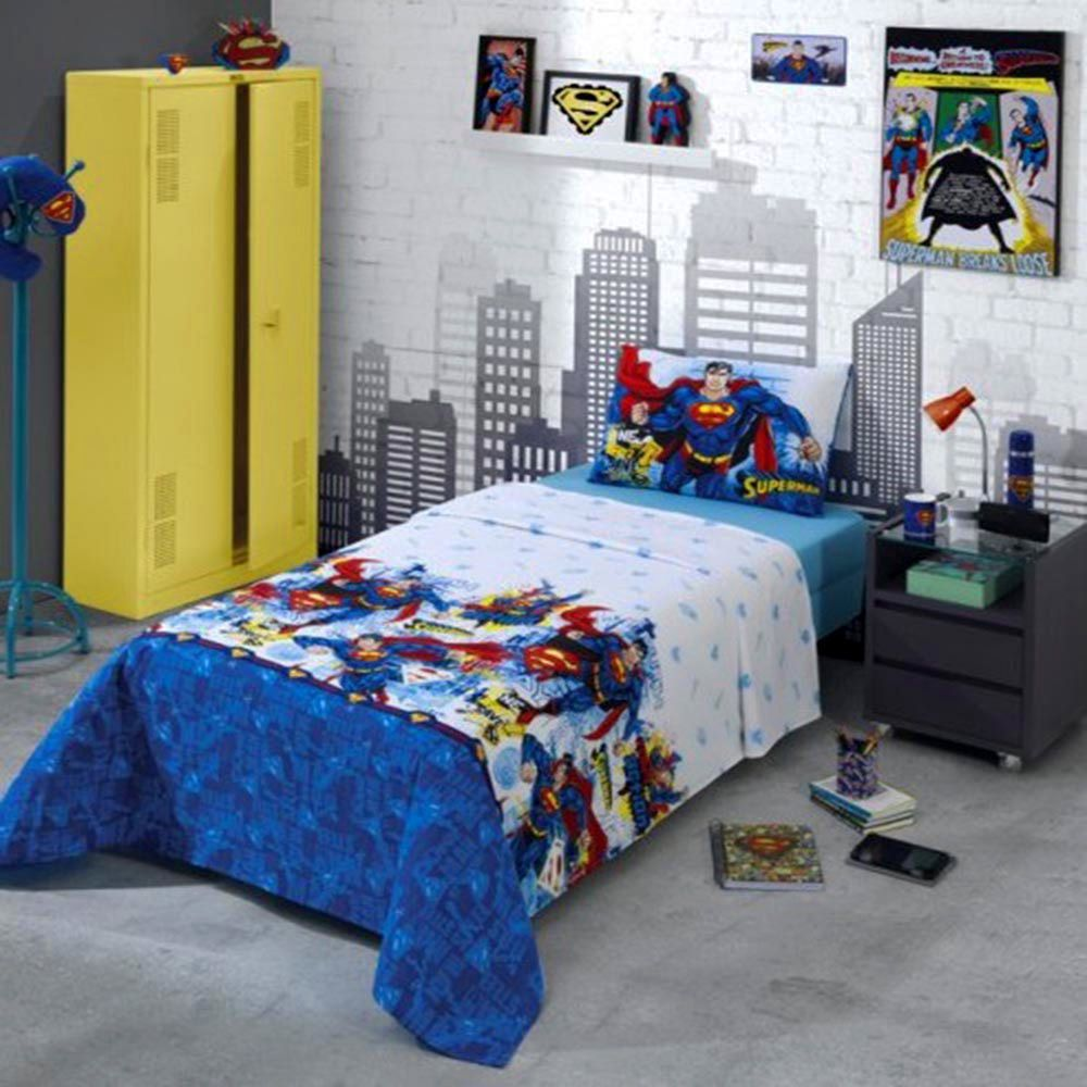 Jogo de Cama Solteiro Superman 3 Peças - Dohler