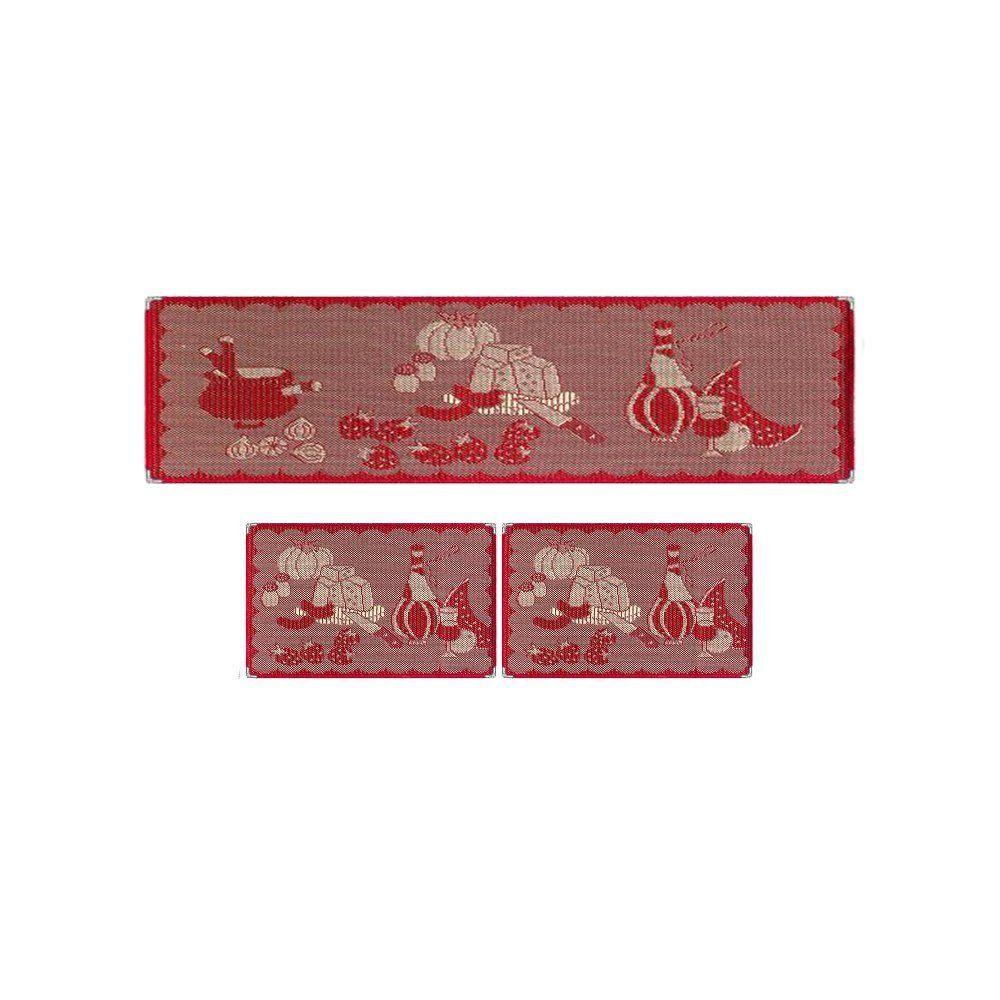Jogo Tapetes para Cozinha 3 Peças Sisal Ks-57 Vermelho - Tapetes Lancer