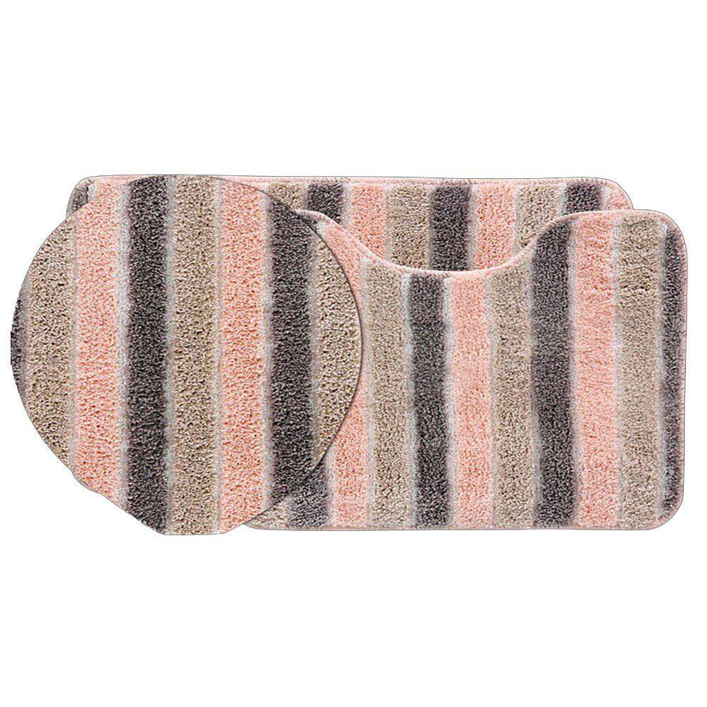 Jogo tapetes para Banheiro 3 Peças Listrado Soft Decor  Salmão - Bella Casa