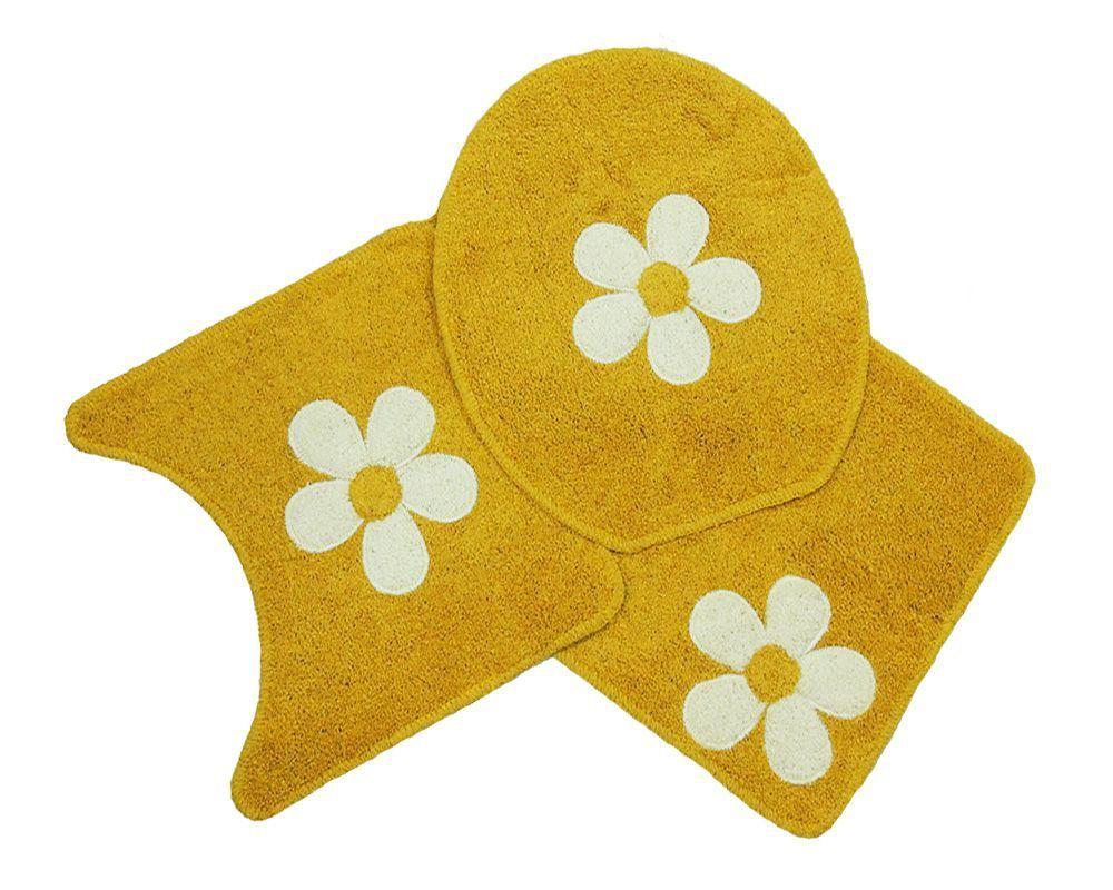 Jogo Para Banheiro Cotton Com Aplique 3 Peças Mostarda/Flor - Tapetes Miriam