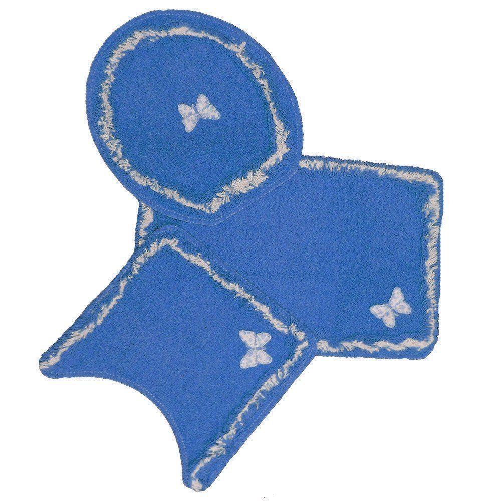 Jogo Para Banheiro Delicato 3 Peças Azul Royal - Tapetes Miriam