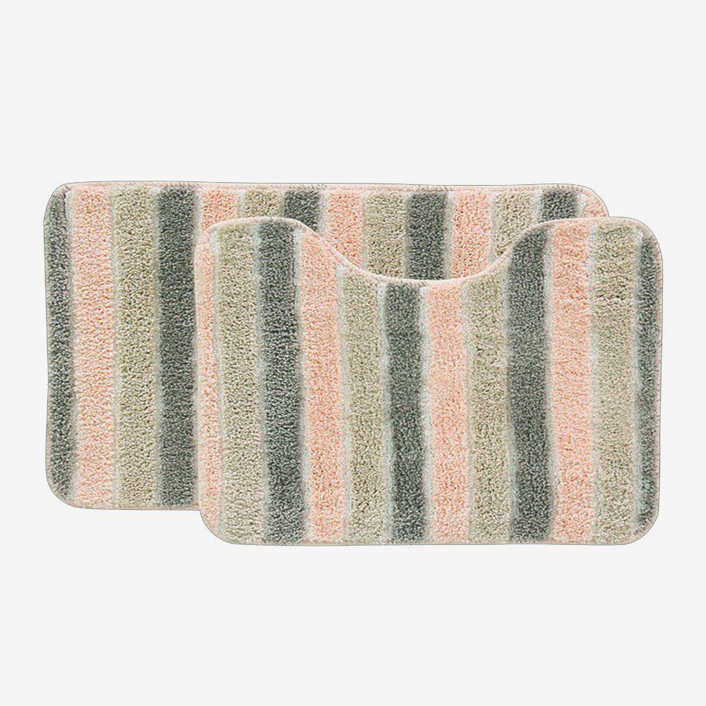 Jogo tapetes para Banheiro 2 Peças Listrado Soft Decor Salmão  - Bella Casa