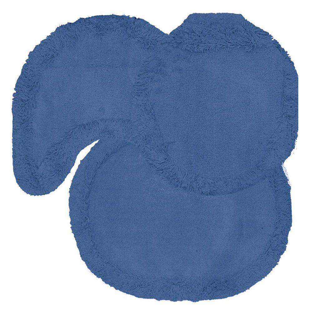 Jogo tapetes para Banheiro 3 Peças Soft Liso Azul - Tapetes Miriam