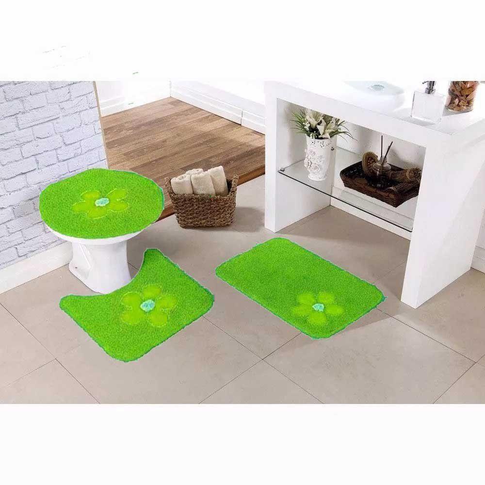 Kit de Tapetes Para Banheiro 3 Peças Rominha Verde - Gera Tapetes