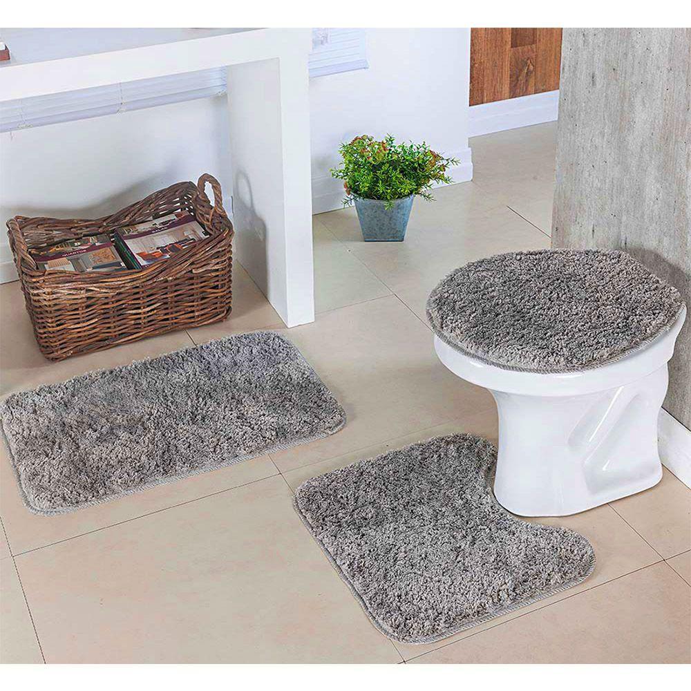 kit Para Banheiro Classic 3 Peças Cinza - Oásis