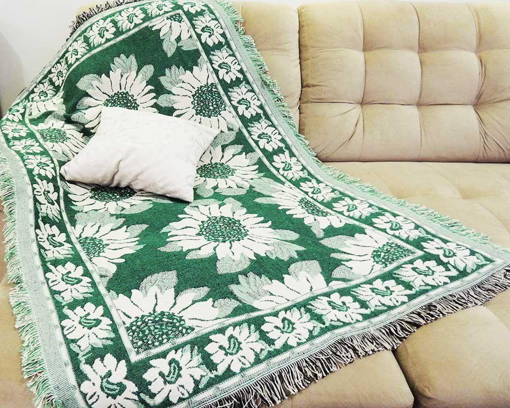 Manta Decorativa Dupla Face Jacquard Girassol 1,50m x 1,00m - Omartex