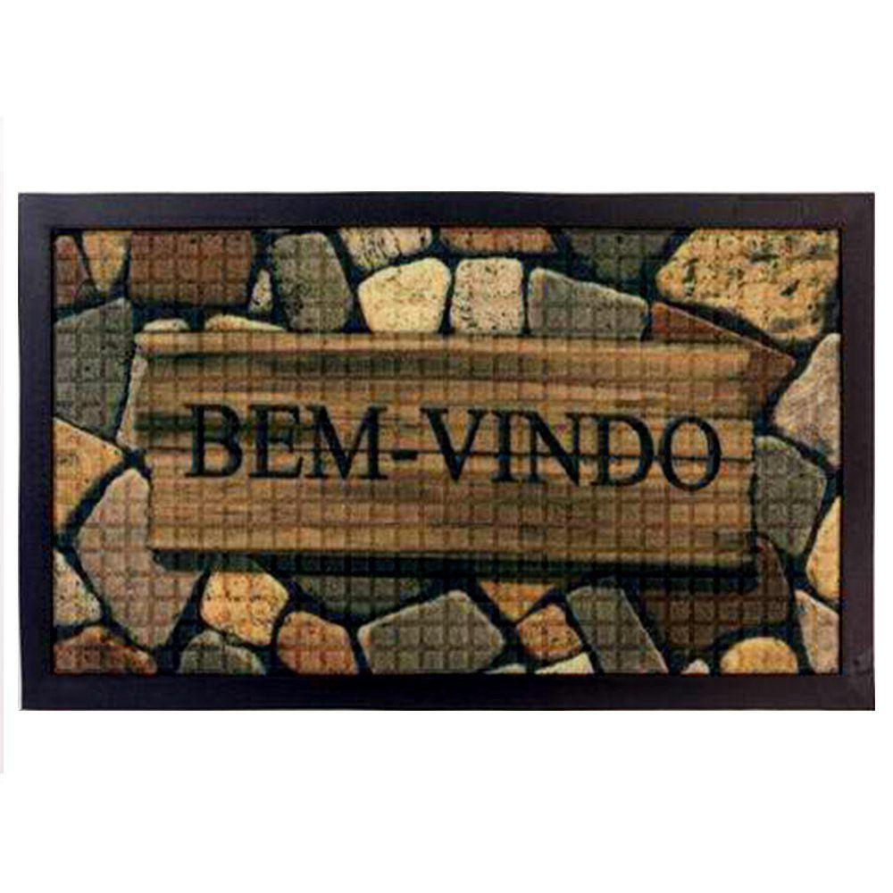 Tapete Bem vindo Fenice Colorful 60cm x 40cm Pedra - Bella Casa