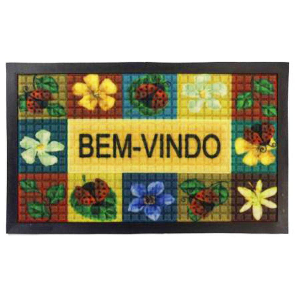 Tapete Bem-vindo Fenice Colorful 70cm x 40cm Joaninha - Bella Casa