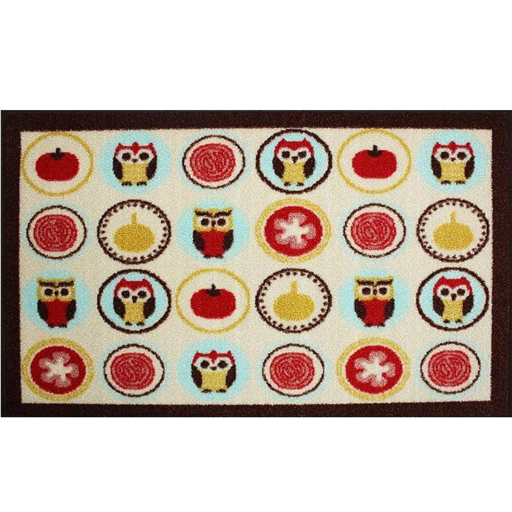 Tapete Multiúso Gourmet Colorful 70 cm x 50 cm Corujas - Bella Casa