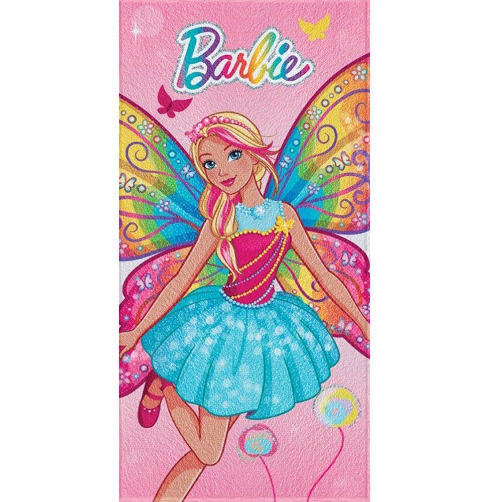 Toalha de Banho Felpuda Personagem Barbie Reino do Arco-Íris Fada - Lepper