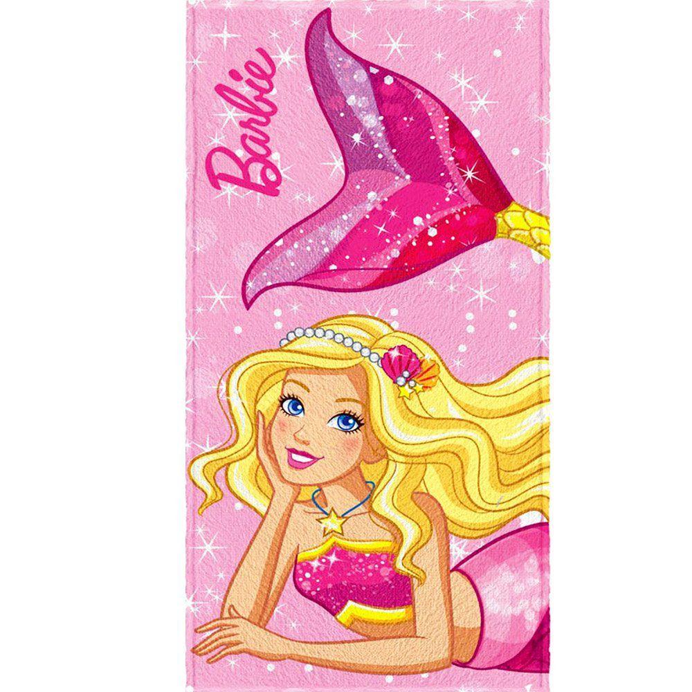 Toalha de Banho Felpuda Personagem Barbie Reinos Mágicos - Lepper