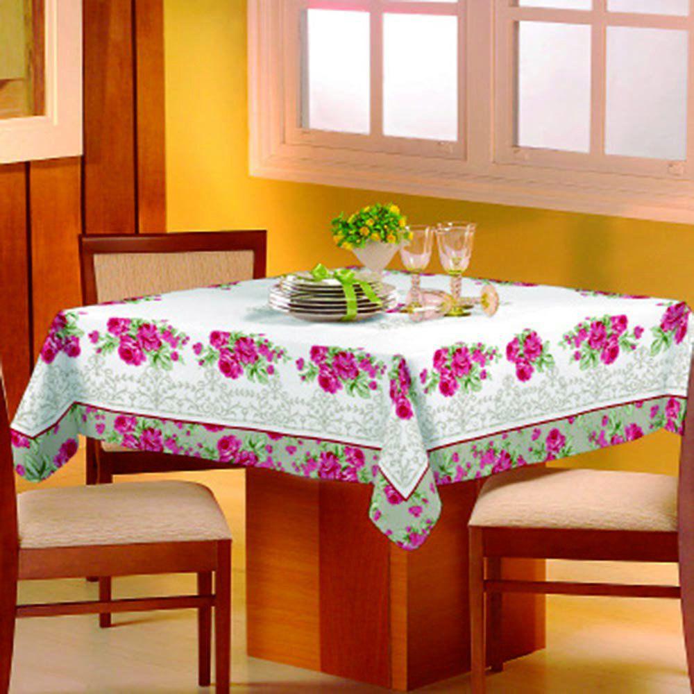 Toalha de mesa Classic 1,40m x 1,40m Floral Rosa - Raner