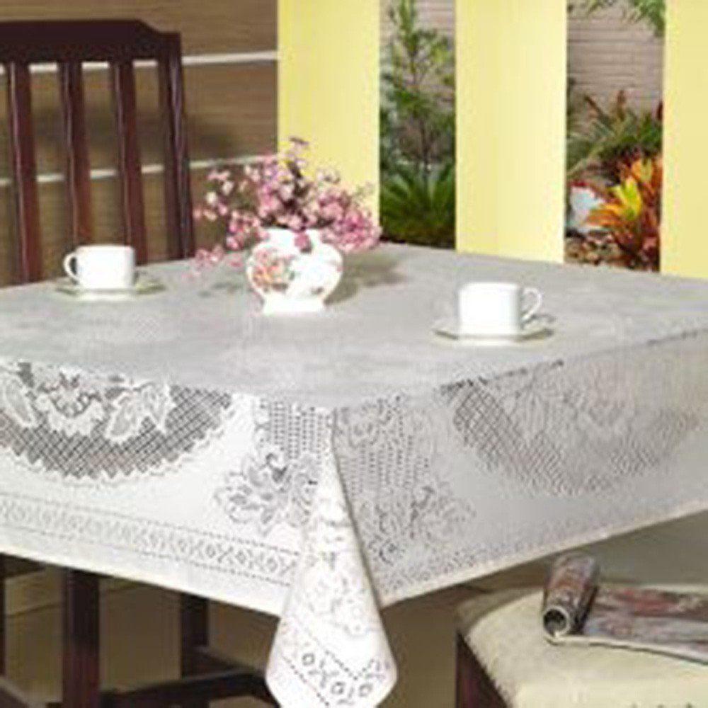 Toalha de Mesa em Renda Jacquard Branca Quadrada 1,50m x 1,50m - Beija Flor